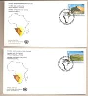 ONU New York - 2 Buste FDC Con Serie Completa: Indipendenza Della Namibia - 1991 - Namibia (1990- ...)