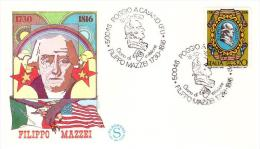 Fdc Filagrano Italia: FILIPPO MAZZEI(1980); No Viaggiata; AS_Poggio A Caiano - 6. 1946-.. Repubblica