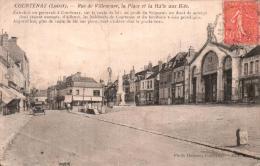 45 COURTENAY RUE DE VILLENEUVE LA PLACE ET LA HALLE AUX BLES CIRCULEE 1932 - Courtenay