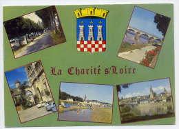 LA CHARITE SUR LOIRE--1978--Multivues (terrain Camping,pont,portail,plage,vue Générale,écusson,blason),cpsm 10 X 15 éd N - La Charité Sur Loire