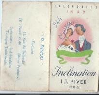 Parfumerie/Inclination/ LT PIVER/ Paris / 1959       CAL129b - Calendriers