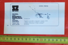 Horse-drawn Digger (RMK Bosanska Kostajnica, Bosnia) / Cheval Tirant Une Charrue /advertising Clipping - Tractors