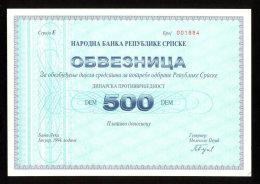 BOSNIA,500 German Mark 1994 UNC REPUBLIC SRPSKA WAR TIME BOND - BANJA LUKA * EXTREMELY RARE !!! - Croatia