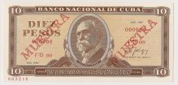 CUBA - 10 PESOS 1987 - SPECIMEN  NEUF / UNC
