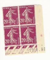 Coins Datés 1938  Filigrané Bloc De 4 TYPE SEMEUSE FOND PLEIN  20 C   YT 189   ** MNH /TB - 1930-1939