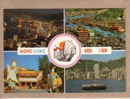 """CHINE - HONGKONG - CPM - HONG KONG BIG NIGHT """" TIN HAU """" STATUE , ABERDEEN , HARBOUR - éditeur National Co - Chine (Hong Kong)"""