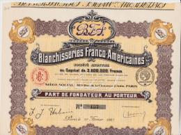 PART DE FONDATEUR-BLANCHISSERIES FRANCO-AMERICAINES- ANNEE 1920 - Cinéma & Théatre