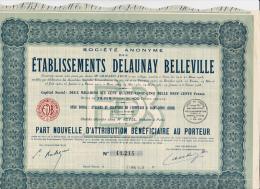 PART NOUVELLE D'ATTRIBUTION - ETS DELAUNEY - BELLEVILLE -1939 - Cinéma & Théatre