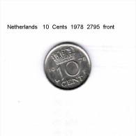 NETHERLANDS    10  CENTS  1978  (KM # 182) - [ 3] 1815-… : Kingdom Of The Netherlands
