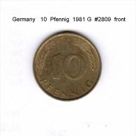 GERMANY    10  PFENNIG  1981 G  (KM # 108) - 10 Pfennig