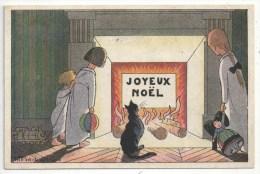 Tito SAUBIDET - JOYEUX NOËL - Enfants - Poupée Alsacienne - Chat Noir - 1919 - Gallais Série 31 No. 394 - Illustrators & Photographers