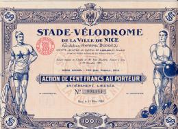 ACTION DE 100 FRANCS NEUVE STADE VELODROME DE LA VILLE DE NICE -1926 - Cinéma & Théatre