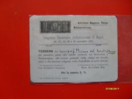 TESSERA Congresso Eucaristico Archidiocesano Di Napoli NOvembre 1921 - Images Religieuses
