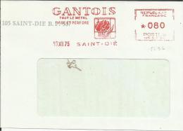 Lettre  EMA Havas GANTOIS Tout Le Metal Lisse Et Perfore Saint Dié Rhinoceros Afrique Mammiferes    Animaux 3/10 - Marcophilie (Lettres)