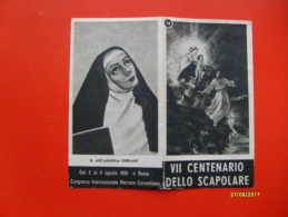 1950 VII Centenario Dello Scapolare Agosto 1950 ROMA Cong.Int.le Mariano Carmelitano - Devotion Images