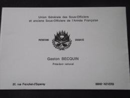 58 NEVERS - Carte De Visite - Gaston BECQUIN - UG Des Sous-Officiers Et Anciens Sous-Officiers De L'Armée Française - Cartes De Visite