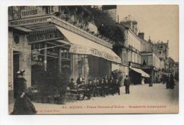 CPA  51: REIMS   La  Place D'Erlon Et Brasserie Alsacienne Animée    A  VOIR  !!!!!!! - Reims