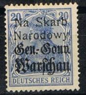 Sello 20 Pf, Alemania Ocupacion Polonia General Gouvernement * - Besetzungen 1914-18