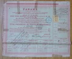 """France Panama Action / Share 1888 """" Titre Provisoire Au Porteur Negociable """" - Actions & Titres"""