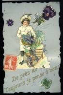 Cpa  Celluloid Le Jardinier Et Sa Brouette De Violettes --  Ajoutis Chromos    MABT26 - Other