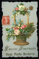 Cpa  Celluloid Panier De Fleurs  Porte Bonheur , Chromo  Ajoutis  MABT26 - Other