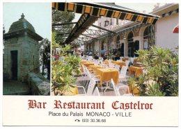 CP, MONACO-VILLE, Face au Palais Princier, BAR-RESTAURANT CASTELROC, Vierge, Ed : GILLETTA