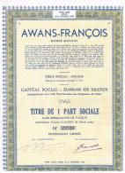 Titres Rayés De La Cote PS AWANS-FRANCOIS PART SOCIALE Titre N°22320 - Industrie