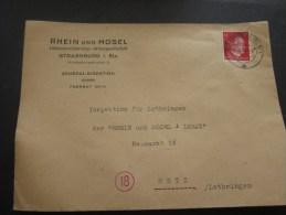 Enveloppe Rhein/Mosel Alsace Lorraine Annexée Occupation Allemande Cachet à Date Manuel STRASSBURG Timbre Hitler 1944 - Postmark Collection (Covers)