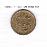 MONACO    1  FRANC  1945  (KM # 120a) - 1922-1949 Louis II