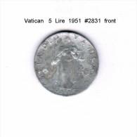 VATICAN   5  LIRE  1951  (Y # 51.1) - Vatican