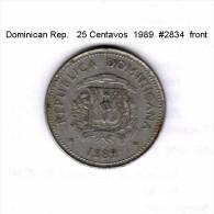 DOMINICAN REPUBLIC   25  CENTIMES  1989  (KM # 71.1) - Dominikanische Rep.
