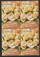 """AUSTRALIA 2005 GREETINGS STAMPS """"MARKING THE OCCASION"""" BOUQUET OF CREAM ROSES BLOCK OF (4) MNH - Blocks & Sheetlets"""