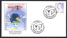 6.- 039 ITALY ITALIA 2013. SPECIAL POSTMARK. YOUTH WORLD DAY RIO2013. POPE FRANCESCO. MARATEA - Papi