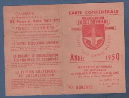1950 SYNDICALISME - CARTE CGT FORCE OUVRIERE - ENERGIE ELECTRIQUE ET GAZ - ERINNOPHILIE TIMBRES - Documents Historiques