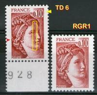 2 N° 1965**_RGR1 Et TD6 Bord De Feuille Avec Trainée-taches-chignon Débordant - 1977-81 Sabine De Gandon