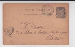 LEVANT - 1892 - CARTE ENTIER POSTAL TYPE SAGE De CONSTANTINOPLE (TURQUIE) Pour PARIS - Levant (1885-1946)
