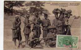 Afrique Occidentale: Vallée Du Niger, Chasseurs D'éléphants Avec Armes Et Bagages, Collection Fortier N°1007, Voyagée. - Niger