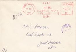 AMOUNT 4, BUCHAREST, MILMC COMPANY METERMARK, MACHINE STAMPS ON REGISTERED COVER, 1990, ROMANIA - Marcophilie - EMA (Empreintes Machines)