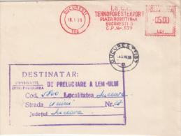 AMOUNT 4, BUCHAREST, WOOD COMPANY METERMARK, MACHINE STAMPS ON FRAGMENT, 1989, ROMANIA - Marcophilie - EMA (Empreintes Machines)