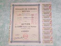Action De 2500 Francs Au Porteur - Tissages De Soiries Reunis - Paris - Industrie