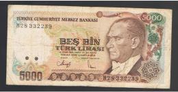 TURQUIA - TURKEY - 5000 Liras 1970   Circulado  P-198 - Turquie