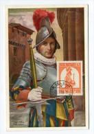 !!! CARTE MAXIMUM 6 L GARDE SUISSE, CACHET DE 1956 - Cartas Máxima