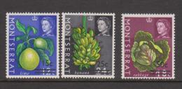 Montserrat 1968 QEII Fruit & Vegetable Definitives Surcharges Watermark Sideways 3 Values MLH - Montserrat