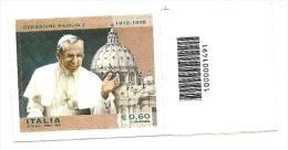 2012 - Italia 3417 Papa Giovanni Paolo I - Codice A Barre - 6. 1946-.. Repubblica