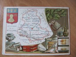 S5  CHROMO CHROMOS GEOGRAPHIQUE DEPT  DE LA HAUTE VIENNE   ANIMEE PUBLICITAIRE BLASON - Cartes Géographiques