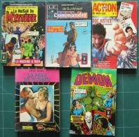 Lot  5 BD : Le Serpent, Le Commander, Comics Pocket, Action Junior (voir Descriptif). - Paquete De Libros