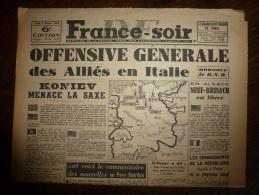 8 Fév. 1945 FRANCE-SOIR :Les Anglais Font La Queue Au Charbon ,les Belges Au Beurre,les Américains Pour Des Cigarettes - 1939-45