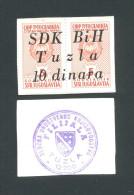 BOSNIA - BOSNIEN UND HERZEGOWINA,  10 Dinara ND(1992) UNC , SDK BIH -TUZLA , Rare War Time Emergency Note - Bosnia Y Herzegovina