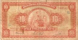 BILLETE DE PERU DE 10 SOLES DE ORO DEL AÑO 1966  (BANK NOTE) - Perú
