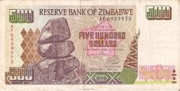 BILLETE DE ZIMBAWE DE 500 DOLARES DEL AÑO 2001  (BANKNOTE-BANK NOTE) - Simbabwe